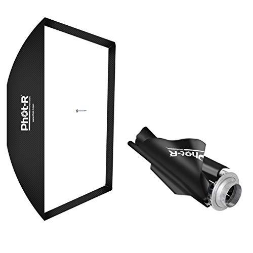 Phot-R, ombrello fotografico professionale, 80x 120cm, rettangolare e pieghevole, softbox con attacco Bowens, supporto tipo S, adattatore Sppedring, colore: nero