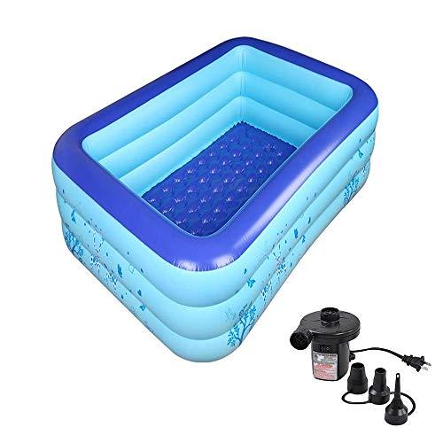 ACEWD Aufblasbarer Pool Rechteckig, Planschbecken Mit Pumpe, Swimmingpool, Dick, Rechteckig, Für Kinder Und Erwachsene