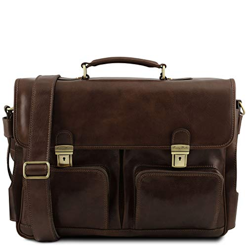 Tuscany Leather Ventimiglia Cartella TL SMART multiscomparto in pelle con tasche frontali Testa di Moro