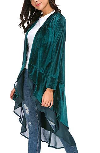 EXCHIC Cárdigan Larga de Terciopelo con Frente Abierta para Mujer con Dobladillo de Gasa Asimétrico (L, Lyons Azul)