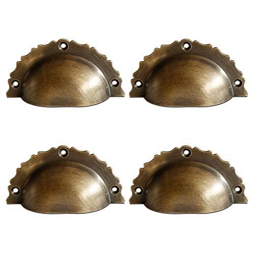 Tiazza 4 tiradores de estilo vintage de latón macizo, para cajón, mesita...