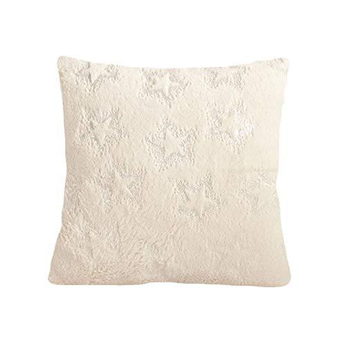 Mosumi Funda de almohada de felpa de 5 puntas para cojín de 43 x 43 cm, para dormitorio, sala de estar, oficina, 1 pieza beige