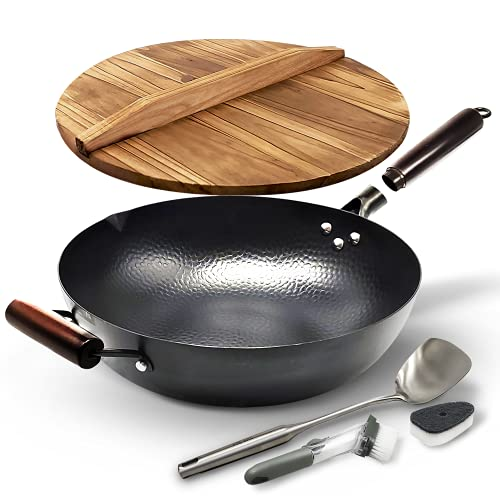 HOME EC Carbon Steel Wok pan for...