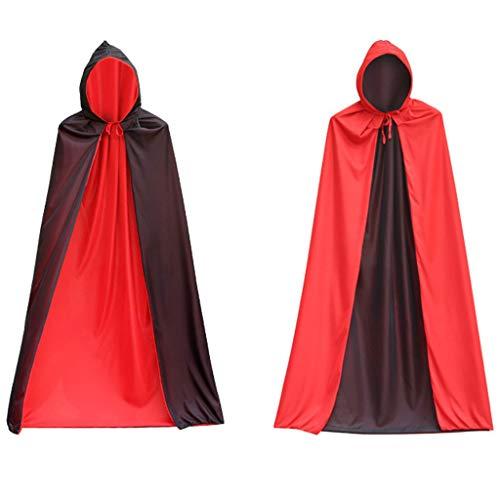 H.eternal(TM) Disfraz de Halloween para cosplay de color slido de doble cara, capa pirata de muerte de invierno clido