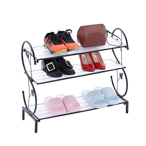 Kiter Zapatero de hierro multicapa simple de almacenamiento de zapatos de metal, ampliable y ajustable, estante organizador de zapatos (color: negro)