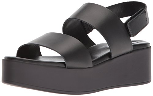 Steve Madden Women's Rachel Wedge Sandal, Black Leather, 10 M US
