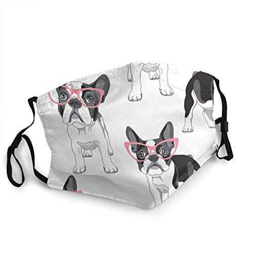Black Frenchie Cartoon French Bulldog Pink Glasses White Dog Adult Reusable Washable Breathable Face Mask with Adjustable Earloops for Boys Girls