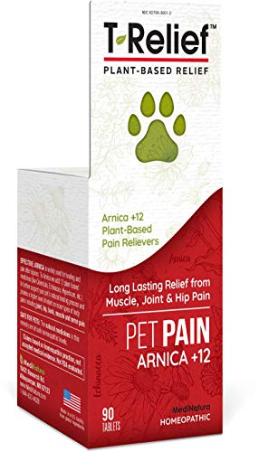 MediNatura T-Relief Pet Pain Relief with Arnica + 12 Plant-Based Pain Relievers - 90 Tablets