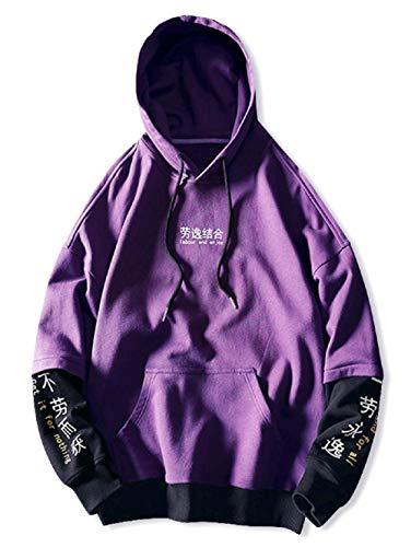 ZAFUL Herren Kontrast Hoodie Sweatshirt mit Chinesischen Schriftzeichen Grafiken Farbe Blockierung Splicing Hoodie (Violett-XXL)
