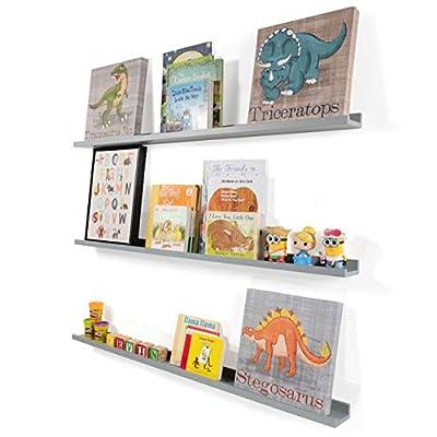 Wallniture Denver 46 Inch Floating Shelves for Wall, Kids' Bookshelf for Nursery Wall Decor, Gray Picture Ledge Shelf Set of 3