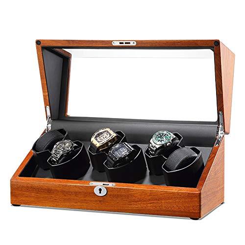 Oksmsa Madera Automático Cajas Giratorias para Relojes con Suave Almohada, Motor Silencioso Y 5 Modos De Rotación, Caja De Reloj para 4/6 Reloj (Color : C)