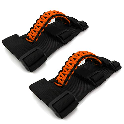 for Jeep Grab Handles 2 Pieces, Roll Bar Paracord Grab Handles for Jeep Wrangler YJ CJ TJ JK JKU JL JLU Red Jeep Grip Handles with 3 Straps and Woven Handle(Orange)