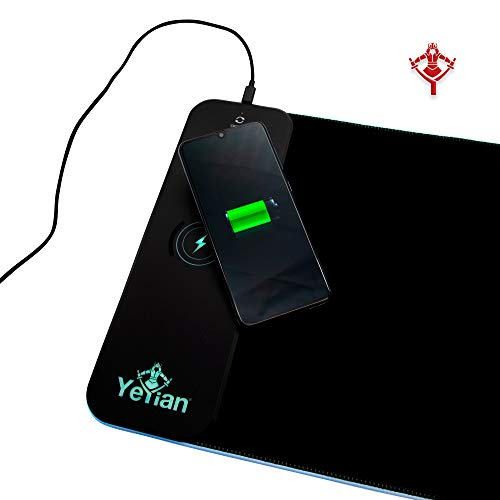 YEYIAN Gaming Mouse PAD , Wireless Charing Surface, RGB Lighting in Red, Green, Blue, Purple, Orange, White and Cyan and Water Resistant Silicone Non-Slip Base (Large)