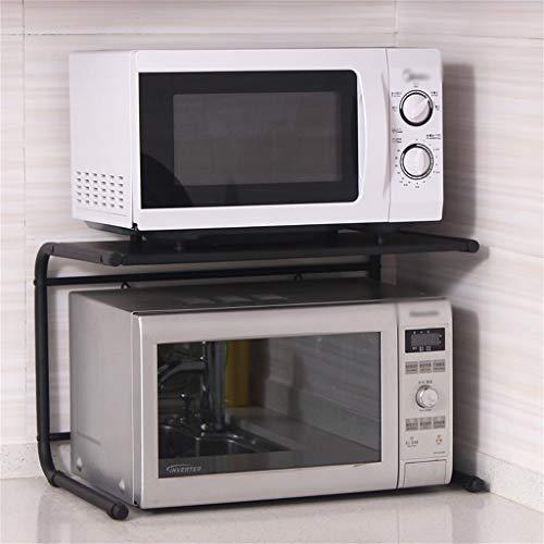 Estante de horno para microondas, 2 capas, 1 partición, de acero al carbono, para cocina, condimentos, cocina, arroz, cocina, estante de almacenamiento eléctrico, longitud de 55,5 cm