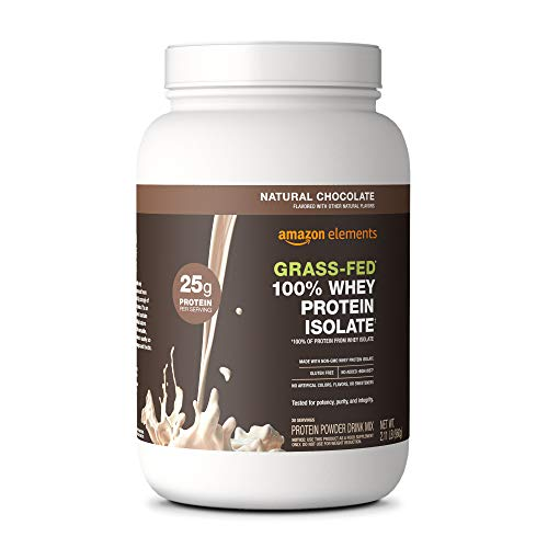 Amazon Elements Grass-Fed 100% Whey Protein Isolate Powder, Natural Chocolate, 2.11 lbs (30...