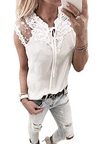 Yutila Damen Chiffon Bluse Hemd mit Spitze, Weiß, L(EU 40)