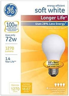 GE Lighting 70284 Soft White Long Life 72-Watt (100-watt Replacement), 1270-Lumen A19 Light Bulb with Medium Base, 4-Pack, 4
