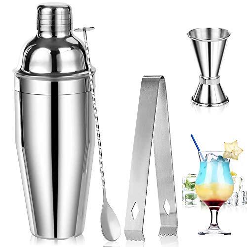 Cocktail Shaker Set,RANJIMA Kit Barman,Set Cocktail,Kit Strumenti Bar in Acciaio Inossidabile,Professionale Kit Barman Completo,Shaker Caffè Freddo,Boston Shaker,Set Di Strumenti Bar 750ML,Bar Spoon