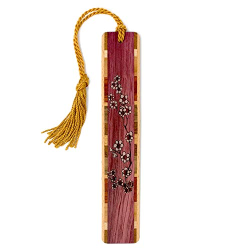 Cherry Blossoms Engraved Wooden Bookmark with Tassel - Flowers - Search B07QQGQJD6 for Personalized Version