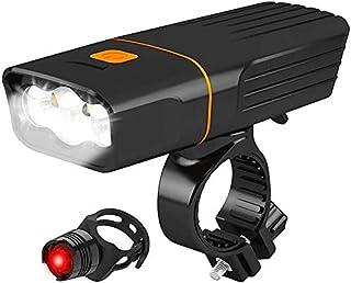 自転車ライト 自転車ヘッドライト USB充電式 LED ライト 5200mA/2600mA大容量 高輝度 1200ルーメン 3モード点灯 300メートル以上照射 IPX6防水 ロードバイク ライト 懐中電灯兼用 多用途 着脱簡単 防災/キャンプ...