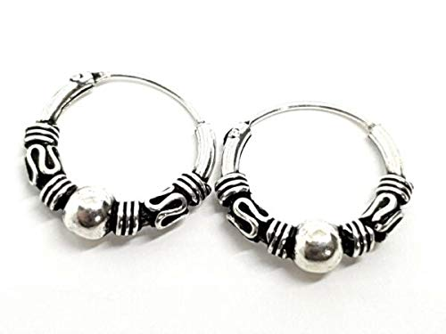 TANAMI Jewellery Supplies for Hoop Earrings Ethnic Ball Bali 22g (0.6mm) Ethnic Rings Silver Boxed Style 3 Great for DIY Jewelry Gift for Women Girls