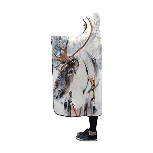 YXUAOQ Mit Kapuze Decke Rentier Winter Forest finnischen Lappland Decke 60 x 50 Zoll Comfotable Hooded Throw Wrap