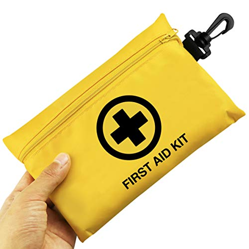 Small First Aid Kit, 100 Pieces Compact Waterproof Mini Emergency Survival Kit FDA OSHA Compliant for Home, Workplace, Vehicle, Travel, Camping, Backpacking Outdoor (Yellow)