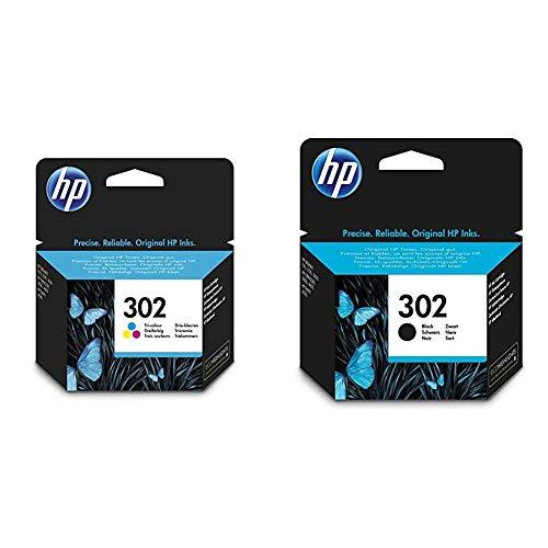 HP 302 - Cartucho de Tinta Original 302 Tricolor para + 302 F6U66AE Negro, Cartucho Original, de 190 páginas, para impresoras