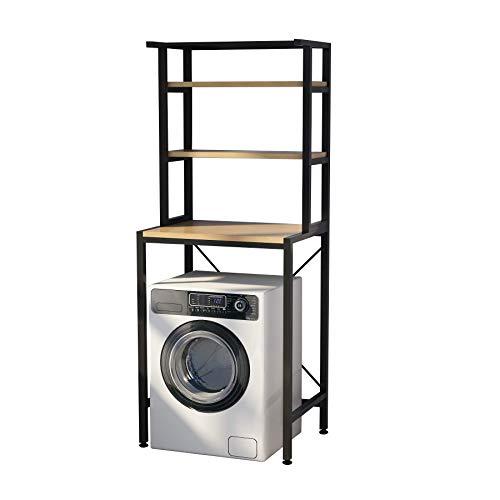 MOYIPIN Dreistöckiges Waschmaschinen-Aufbewahrungsregal für das Badezimmer, platzsparend, multifunktional, robust, verstellbar, schwarz