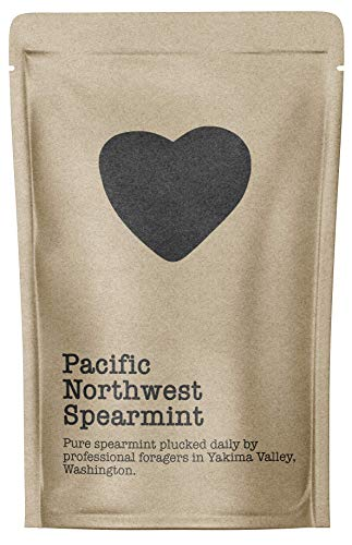 Pacific Northwest Spearmint, 15-20 Servings, Eco-Conscious Zip Pouch, Caffeine Free, Pure Loose Leaf Tea Grown in America