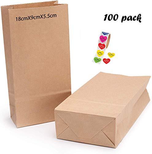 100 Stück Papiertüten Braun,Kraftpapiertüten Braun,Papierbeutel Kraftpapier,Kraftpapiertüten,Tütchen Papier,Kraft Geschenkpapier,Bodenbeutel Papier,Papiertüten Tüten