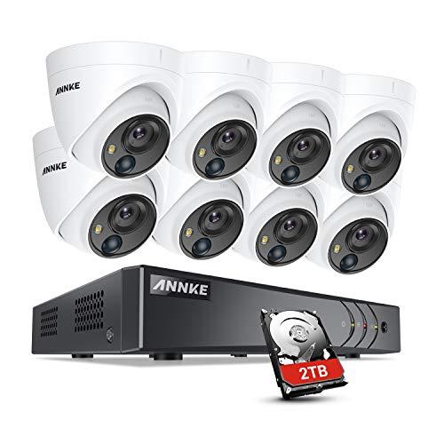 ANNKE 8canali 5MP DVR Sistema Kit Videosorveglianza H.265 Pro+ con 8 Fotocamera di Sorveglianza Sicurezza da Esterno da 5MP Rilevatore di Movimento 30M IR Visione Notturna 2TB