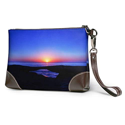 Hdadwy Sunset Horizon Leder Wristlet Clutch Wallet Smartphone Reißverschluss Clutch Geldbörse Leder Passport Wallet Handtasche