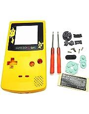 アウターハウジングシェルケース交換用イエローカラー、for Nintendo 任天堂ニンテンドーゲームボーイゲームボーイカラーGBCコンソール、ピカチュウ限定版スクリーンポーター、ボタン、ネジ、ラバーパッド、修理ツール、ステッカー