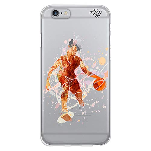 BJJ SHOP Funda Slim Transparente para [ iPhone 6 / iPhone 6s ], Carcasa de Silicona Flexible TPU, diseño : Jugador de Baloncesto Watercolor Naranja