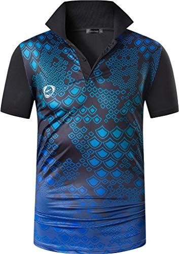 jeansian Herren Summer Sportswear Wicking Breathable Short Sleeve Quick Dry Polo T-Shirts Tops LSL315 Black M