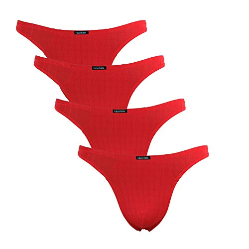 Fabio Farini 4er-Pack maskuline Herren String-Tangas in kräftigem Rot, Nachtschwarz, dunklem Blau oder Weiß 4X Rot M