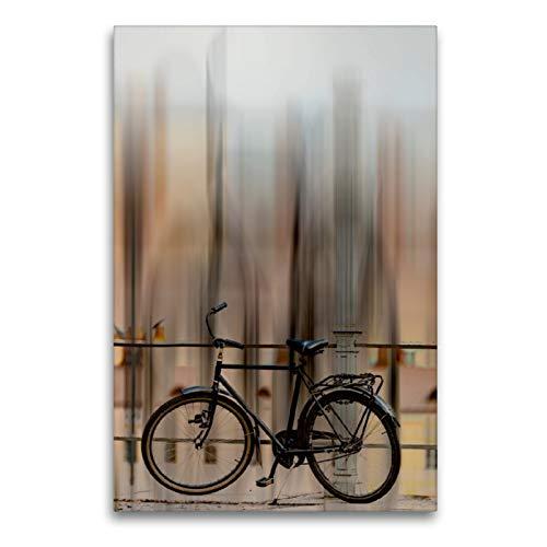 Premium Textil-Leinwand 60 x 90 cm Hoch-Format Fahrrad - abstrakt | Wandbild, HD-Bild auf Keilrahmen, Fertigbild auf hochwertigem Vlies, Leinwanddruck von Carmen Steiner und Matthais Konrad