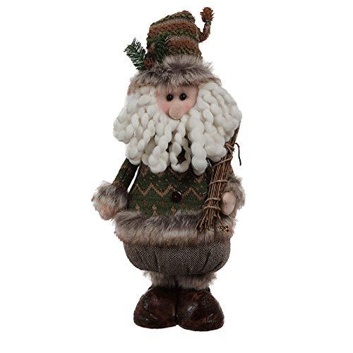Rebecca Mobili Babbo Natale, Pupazzo Natalizio Grande, Poliestere, Verde Marrone, Decorazioni Casa Negozio - Misure: 48 x 22 x 14 cm (HxLxP) - Art. RE6506