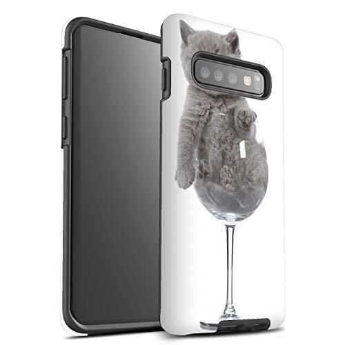 eSwish beschermhoes, mat, robuust, schokbestendig, voor Samsung Galaxy S10 Plus/wijnglas design/schattige kattencollectie