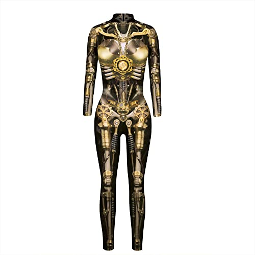 ArcherWlh Holloween,Yoga Pantalones,Esqueleto de Plumas Halloween Impresin Digital Disfraz de Mujer Disfraces de actuacin Mono Ajustado de Manga Larga de otoo-BAX169_SG