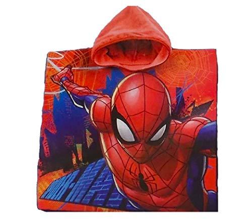 Spiderman Marvel Bademantel/Kapuzen Poncho für Kinder, 100% Baumwolle (Frottier)