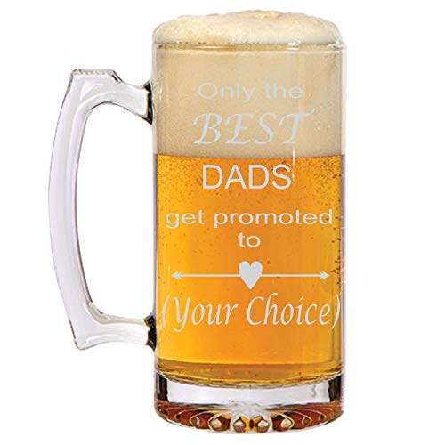 Only the BEST DADS get promoted to Grandpa, Pops, Pop Pop, PaPap, You decide! Personalized Beer Mug for Grandpa! Unique Father's Day Gift