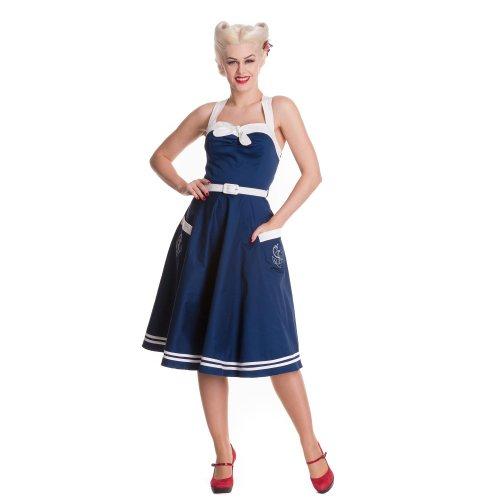 Hell Bunny Damen Kleid Siren Dress Navy Blau XL