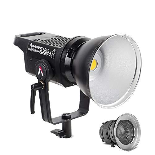 Aputure 120D Mark 2, 120D II LED mit Aputure Fresnel 2X Lens Mount, 30,000 Lux @ 0.5m, Unterstützt DMX, 5 Vorprogrammierte Lichteffekte