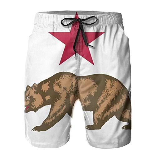 Mayblosom Men Beach Shorts California Bear Star Summer Swim Trunks Quick Dry Board Shorts Funny 3D Printed Beachwear with Drawstring L White