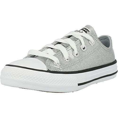 Converse Chuck Taylor All Star Ox Coated Glitter Grau/Schwarz (Wolf Grey/Black) Synthetik 33 EU