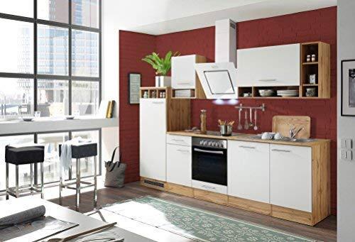 Aneks kuchenny kuchnia blok kuchenny kuchnia do zabudowy kompletna kuchnia 280 cm dąb biały z urządzeniami respekta