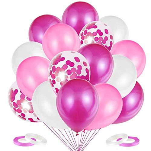 JOJOR - 60 globos de color rosa, globos con confeti, globos de...