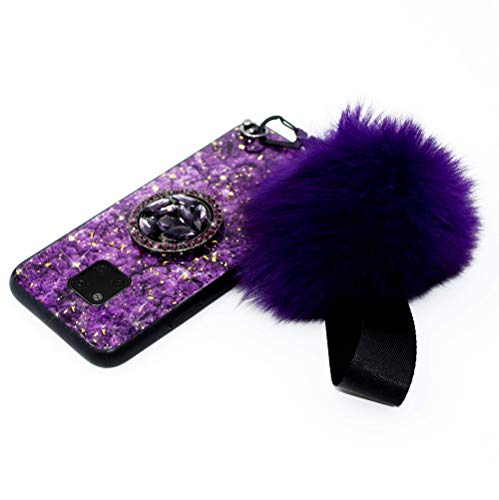 Hpory Kompatibel mit Huawei Mate 20 Pro Hülle, Handyhülle Huawei Mate 20 Pro Glitzer Muster TPU Silikon + PC Hart Case Cover Tasche Schutzhülle für Mädchen Damen mit Ring Halter Plüsch Ball - Violett